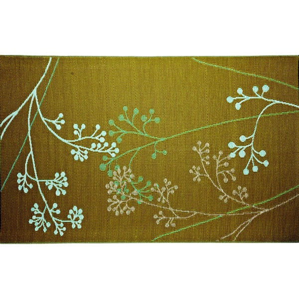 b.b.begonia Fernando Reversible Design Olive and Blue Outdoor Area Rug (4' x 6')