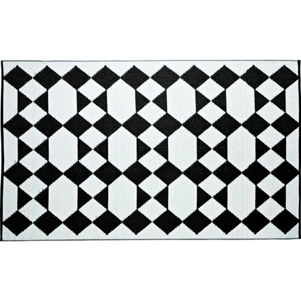 b.b.begonia Monte Carlo Reversible Design Black and White Outdoor Area Rug (5' x 8')