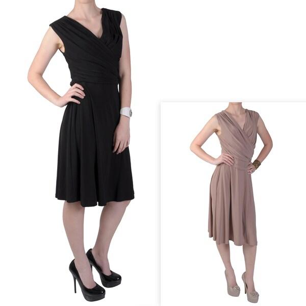Tressa Designs Women's V-neck Sleeveless Gathered Dress
