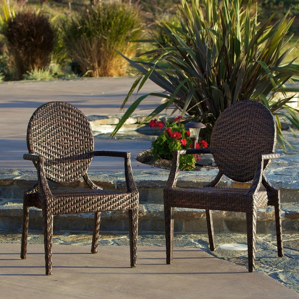 Adriana PE Wicker Outdoor Chairs (Set of 2) by Christopher Knight Home