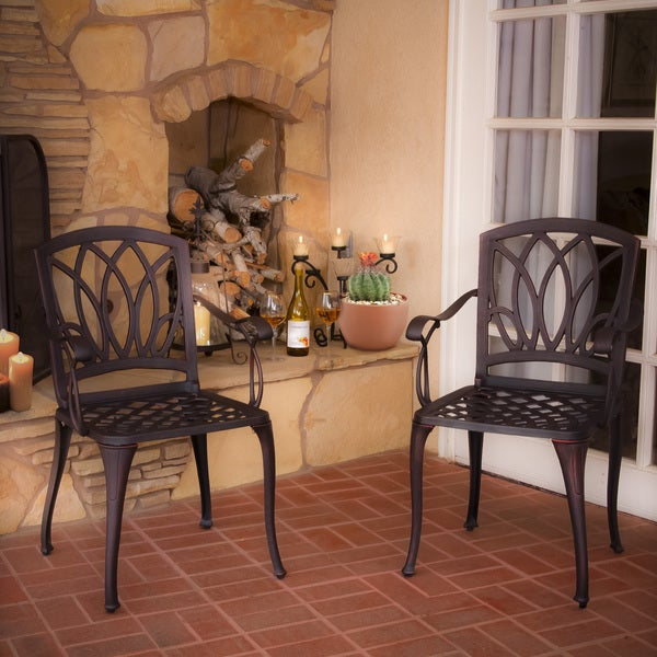 Christopher Knight Home Dunbar Cast Aluminum Outdoor Dining Chairs (Set of 2)