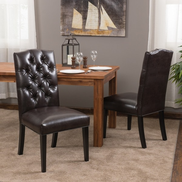 Set Of 2 Dining Room Furniture Tufted Brown Leather Dining: Shop Crown Top Brown Bonded Leather Dining Chair (Set Of 2