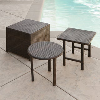 Palmilla Wicker Table (Set Of 3) By Christopher Knight Home (Option: Black