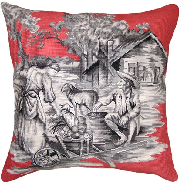 Country Toile Pink/ Black Needlepoint Decorative Pillow