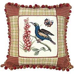 Sunbird Hand-embroidered Petit-point Decorative Pillow