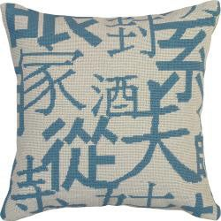 Kanji Blue Hand-embroidered Needlepoint Decorative Pillow - Thumbnail 0