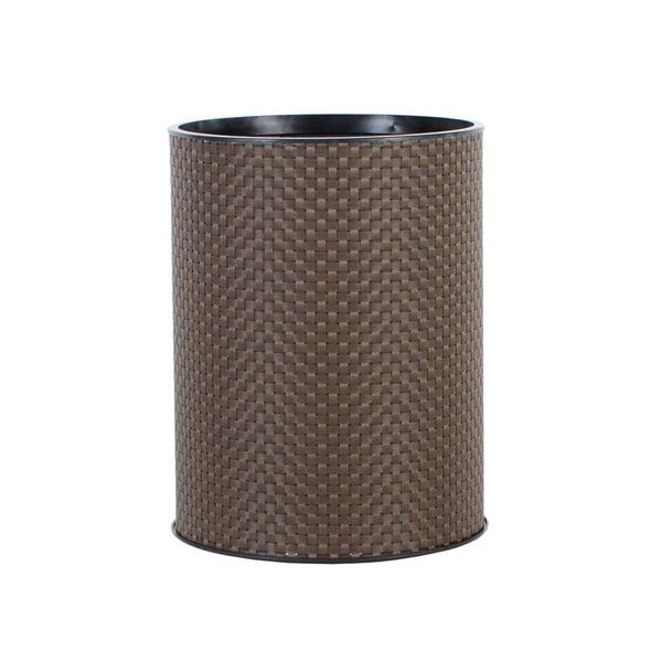 1530 LaMont Home Basketweave Round Chocolate Wastebasket