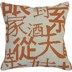 Orange Kanji Needlepoint Pillow