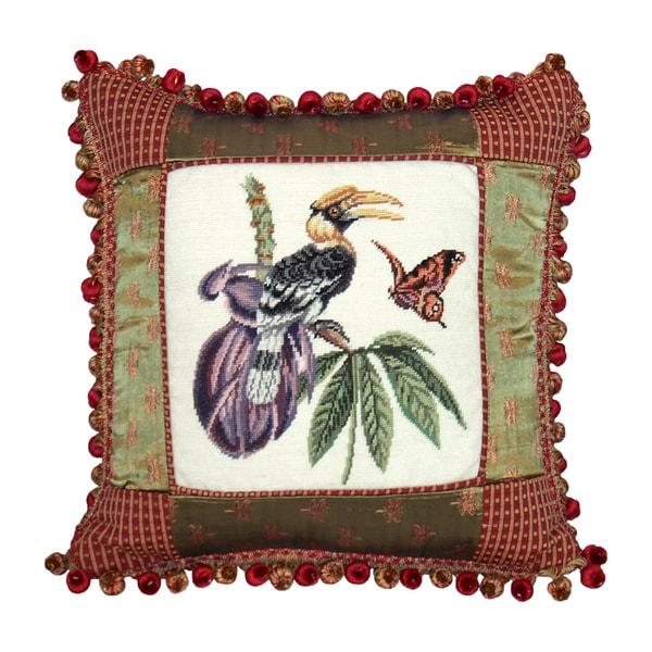Great Hornbill Petit Point Pillow