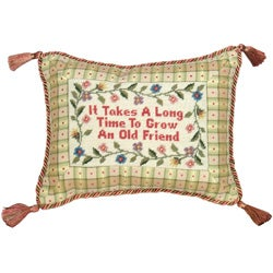 'It takes a long time...' Petit-point Pillow