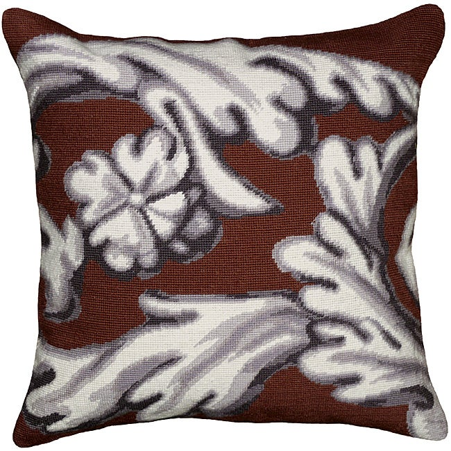 Brown Scroll Needlepoint Pillow