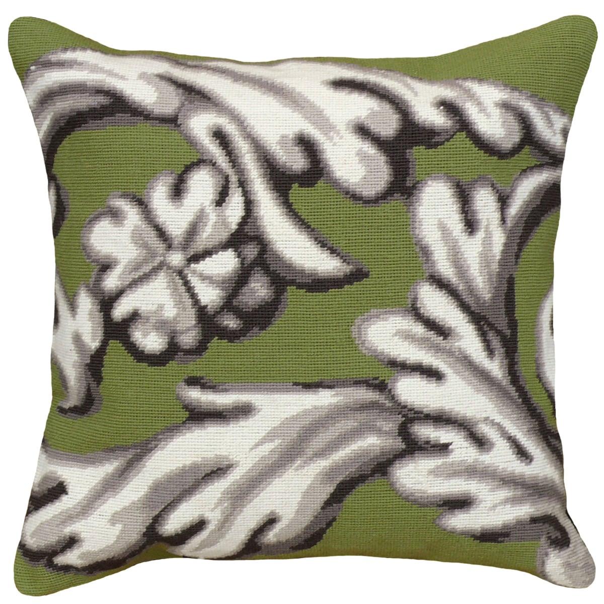 Green Scroll Needlepoint Pillow