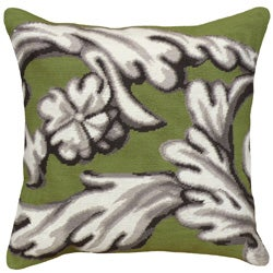 Green Scroll Needlepoint Pillow