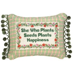 """She Who Plants..."" Petit-point Pillow"