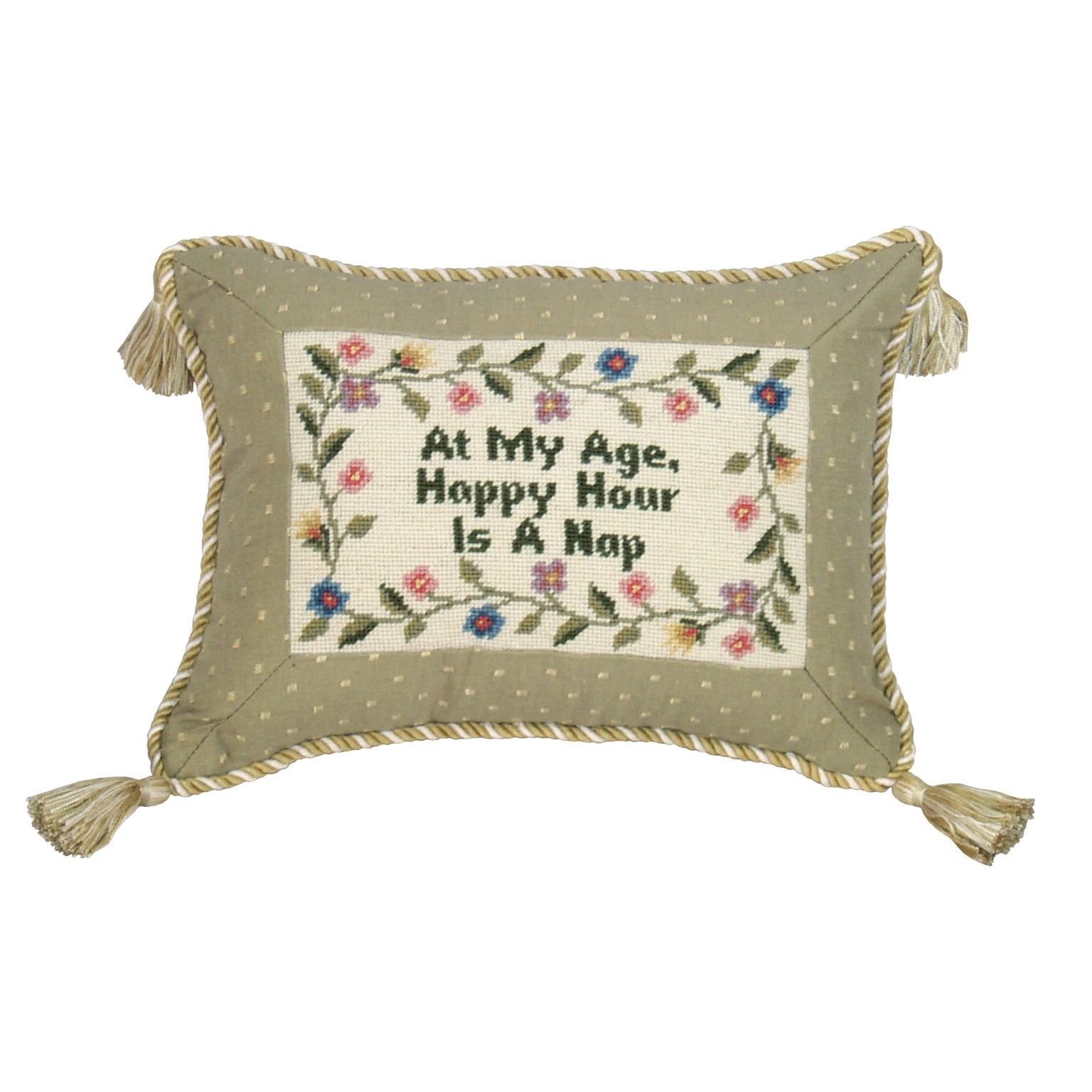 'At My Age...' Petit-point Pillow