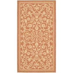 Safavieh Resorts Scrollwork Terracotta/ Natural Indoor/ Outdoor Rug (2' x 3'7)