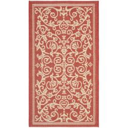 "Safavieh Poolside Red/Natural Indoor/Outdoor Accent Rug (2' x 3'7"")"