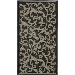 "Safavieh Poolside Black/Sand Indoor/Outdoor Border Rug (2' x 3'7"")"