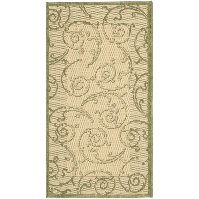 Shop Safavieh Oasis Scrollwork Natural/ Olive Green Indoor/ Outdoor ...