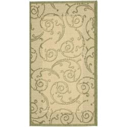 Safavieh Oasis Scrollwork Natural/ Olive Green Indoor/ Outdoor Rug (2' x 3'7)