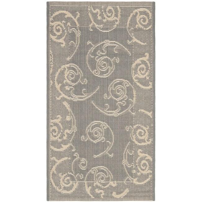 Safavieh poolside gray natural indoor outdoor accent rug 2 x 3 7