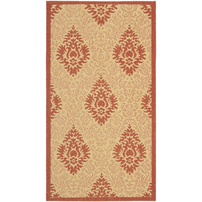 Safavieh St. Barts Damask Natural/ Red Indoor/ Outdoor Rug (2' x 3'7)