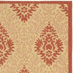 Safavieh St. Barts Damask Natural/ Red Indoor/ Outdoor Rug (2' x 3'7) - Thumbnail 1