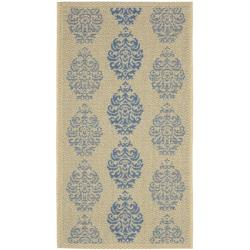 Safavieh St. Martin Damask Natural/ Blue Indoor/ Outdoor Rug (2' x 3'7)