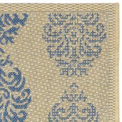 Safavieh St. Martin Damask Natural/ Blue Indoor/ Outdoor Rug (2' x 3'7) - Thumbnail 1