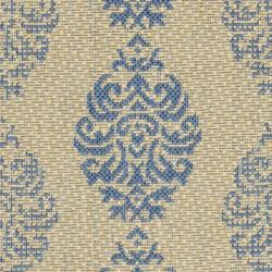 Safavieh St. Martin Damask Natural/ Blue Indoor/ Outdoor Rug (2' x 3'7) - Thumbnail 2