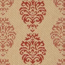 Safavieh St. Martin Damask Natural/ Red Indoor/ Outdoor Rug (2' x 3'7)