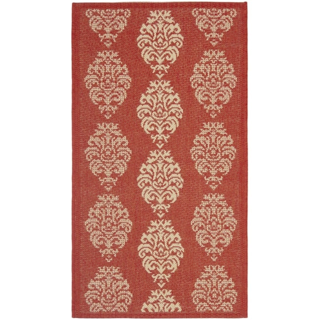Safavieh St. Martin Damask Red/ Natural Indoor/ Outdoor Rug - 2' x 3'7