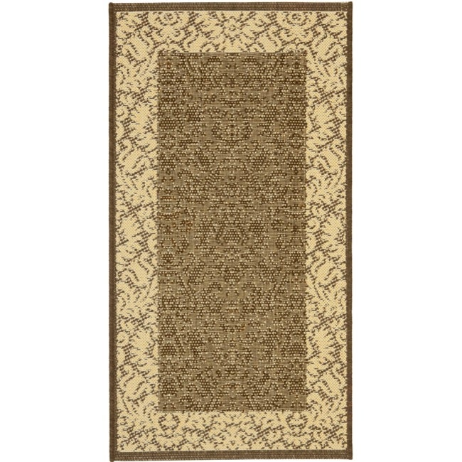 Safavieh Kaii Damask Chocolate/ Natural Indoor/ Outdoor Rug - 2' x 3'-7""