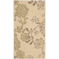 """Safavieh Courtyard Floral Natural Brown/ Olive Green Indoor/ Outdoor Rug - 2' x 3'7"""""""