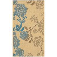 "Safavieh Courtyard Floral Natural Brown/ Blue Indoor/ Outdoor Rug - 2' x 3'7"""