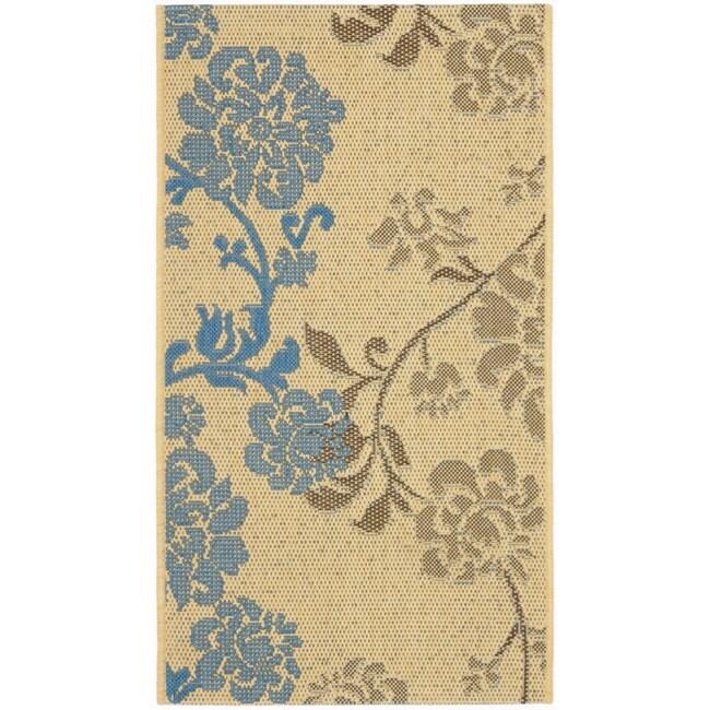 Safavieh Courtyard Floral Natural Brown/ Blue Indoor/ Outdoor Rug (2'7 x 5')