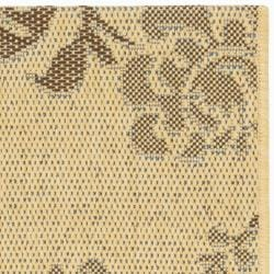 Safavieh Courtyard Floral Natural Brown/ Blue Indoor/ Outdoor Rug (2'7 x 5') - Thumbnail 1