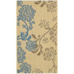Safavieh Courtyard Floral Natural Brown/ Blue Indoor/ Outdoor Rug (2'7 x 5')