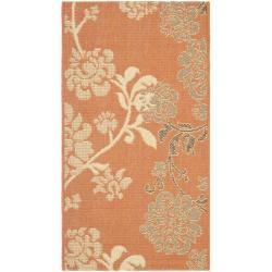 "Safavieh Courtyard Floral Terracotta/ Natural Indoor/ Outdoor Rug (2' x 3'7"")"