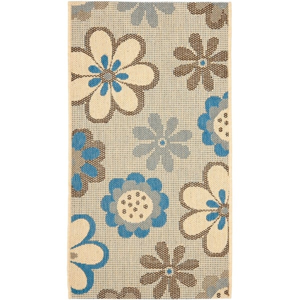 Safavieh Courtyard Flowers Natural/ Blue Indoor/ Outdoor Rug - 2' x 3'-7""