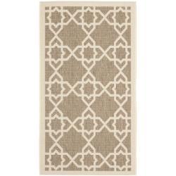 Safavieh Courtyard Geometric Trellis Brown/ Beige Indoor/ Outdoor Rug (2' x 3'7) - 2' x 3'7