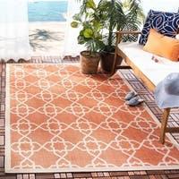 """Safavieh Courtyard Geometric Trellis Brown/ Beige Indoor/ Outdoor Rug - 2' x 3'-7"""""""