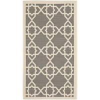 Safavieh Courtyard Geometric Trellis Grey/ Beige Indoor/ Outdoor Rug - 2' x 3'7