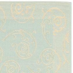Safavieh Courtyard Scrollwork Aqua/ Cream Indoor/ Outdoor Rug (2' 3 x 6' 7 ) - Thumbnail 1