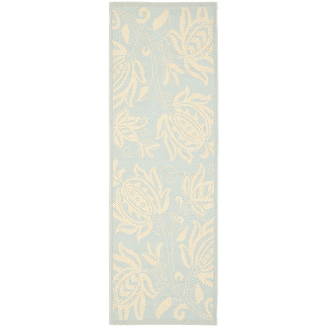Safavieh Courtyard Bloom Aqua/ Cream Indoor/ Outdoor Runner Rug (2' x 3'7)