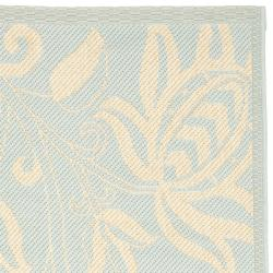 Safavieh Courtyard Bloom Aqua/ Cream Indoor/ Outdoor Runner Rug (2' x 3'7) - Thumbnail 1