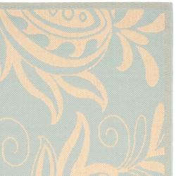 Safavieh Courtyard Bloom Aqua/ Cream Indoor/ Outdoor Rug (9' x 12') - Thumbnail 1