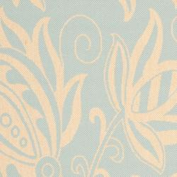 Safavieh Courtyard Bloom Aqua/ Cream Indoor/ Outdoor Rug (9' x 12') - Thumbnail 2