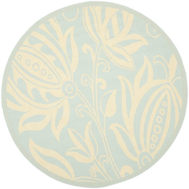 Safavieh Courtyard Bloom Aqua/ Cream Indoor/ Outdoor Rug (6'7 Round) - Thumbnail 0