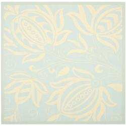 Safavieh Courtyard Bloom Aqua/ Cream Indoor/ Outdoor Rug (6'7 Square)